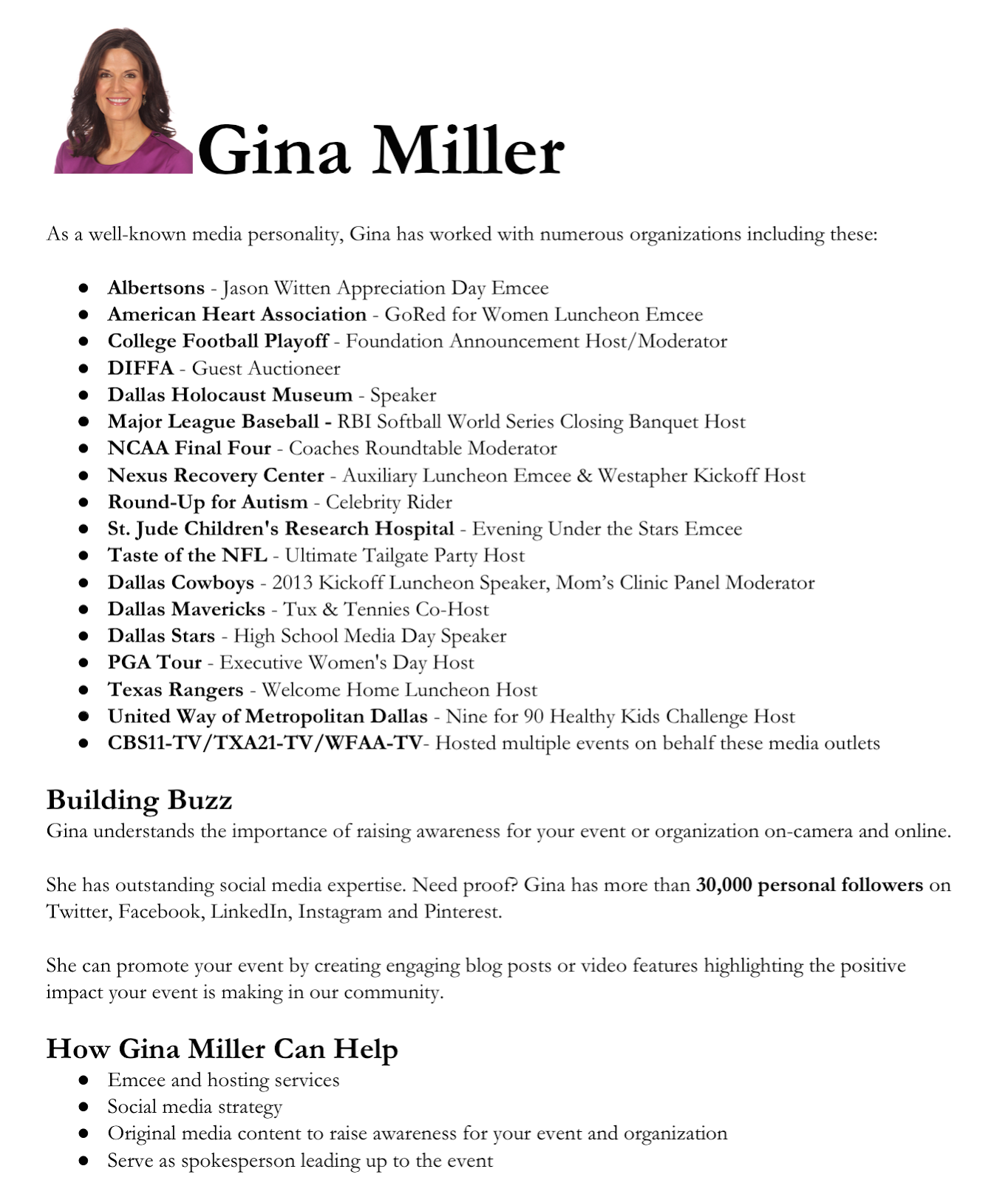 Work with Gina Miller, Gina Miller Sportscaster