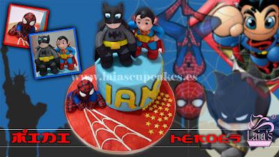 Tarta personalizada fondant mini super héroes Laia's Cupcakes Puerto Saguto