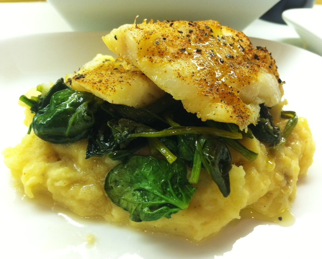 Roasted Cod With A Garlic Spinach And Mashed Potatoes Savory
