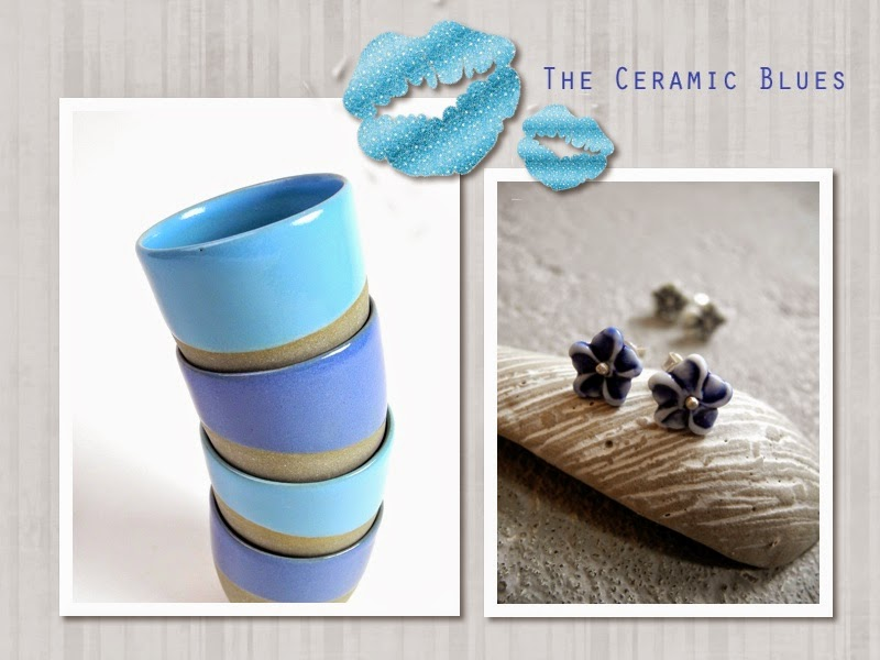 a collage of blue ceramic objects made by suus notenboom