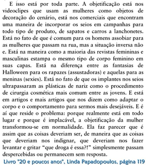 objetificação, Resenha, livro, 20 e poucos anos, Linda Papadopoulos, Gente, quotes, trechos, opinião, feminismo, e-book