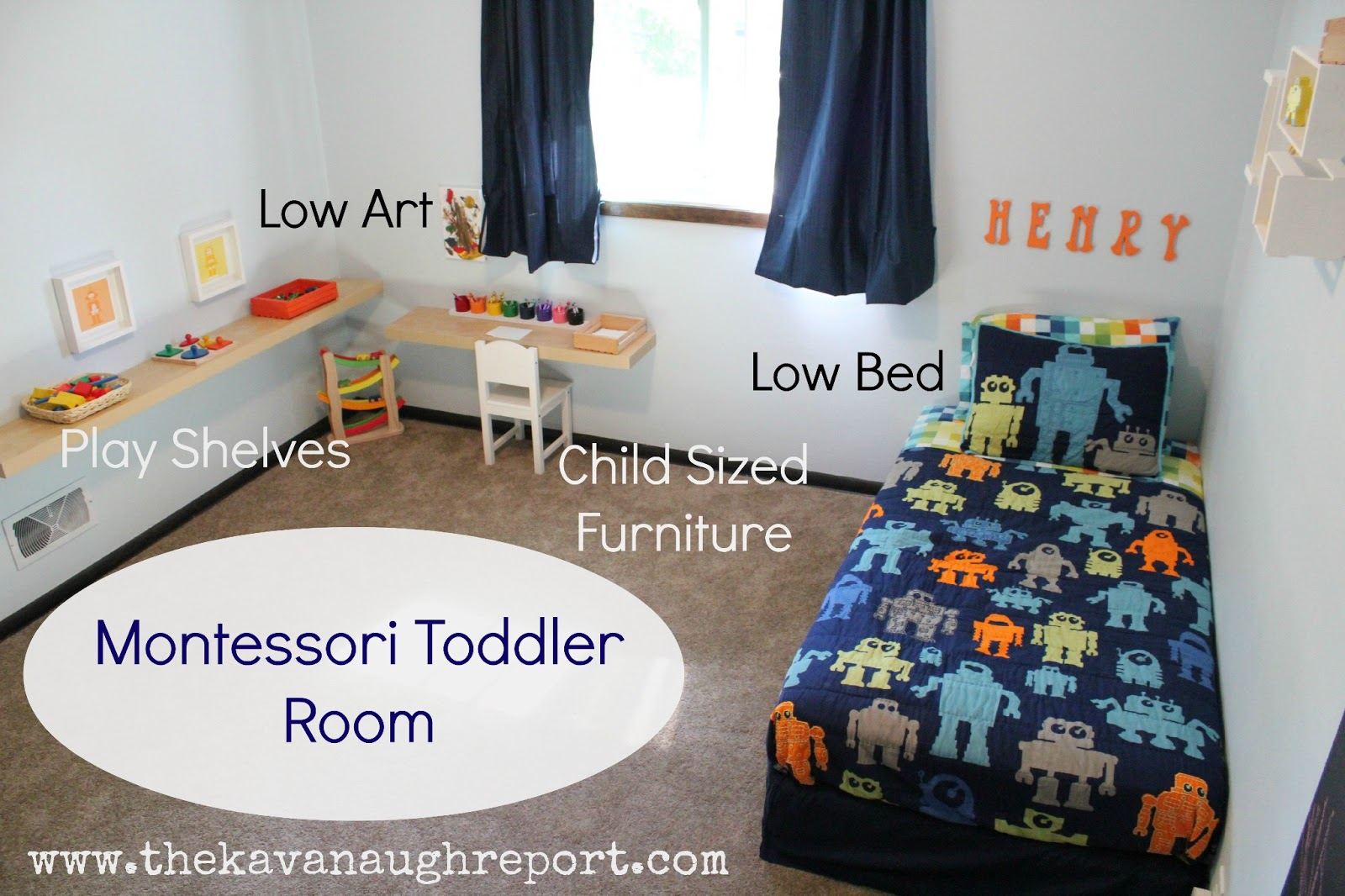 Montessori toddler bedroom for Chambre montessori