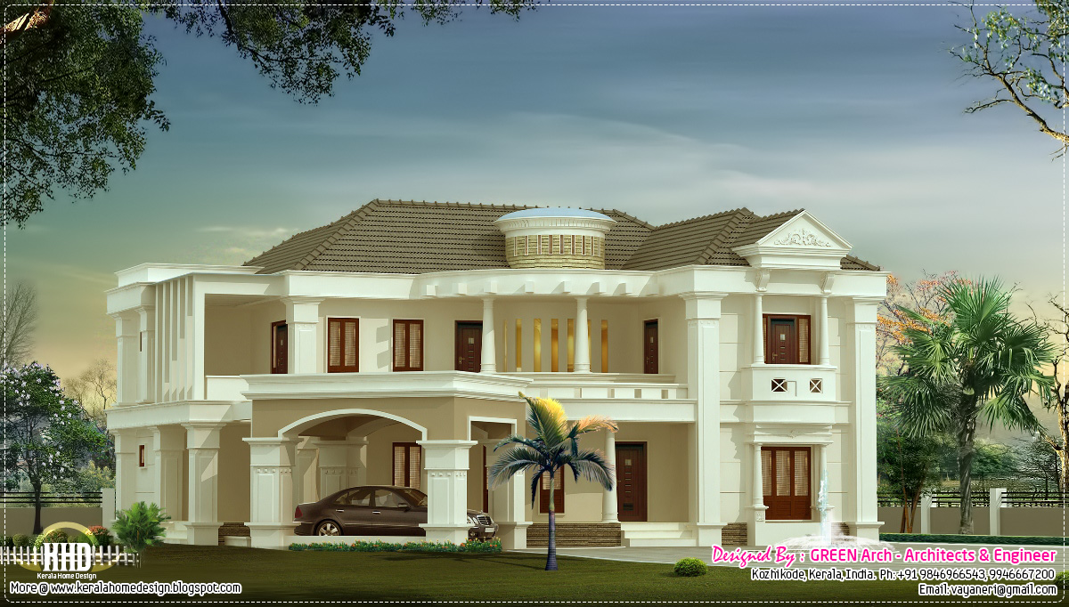 3500 luxury villa kerala home design and floor plans for Villa plans and designs