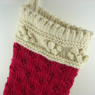 detail hand knit stocking wool roving red cream  white