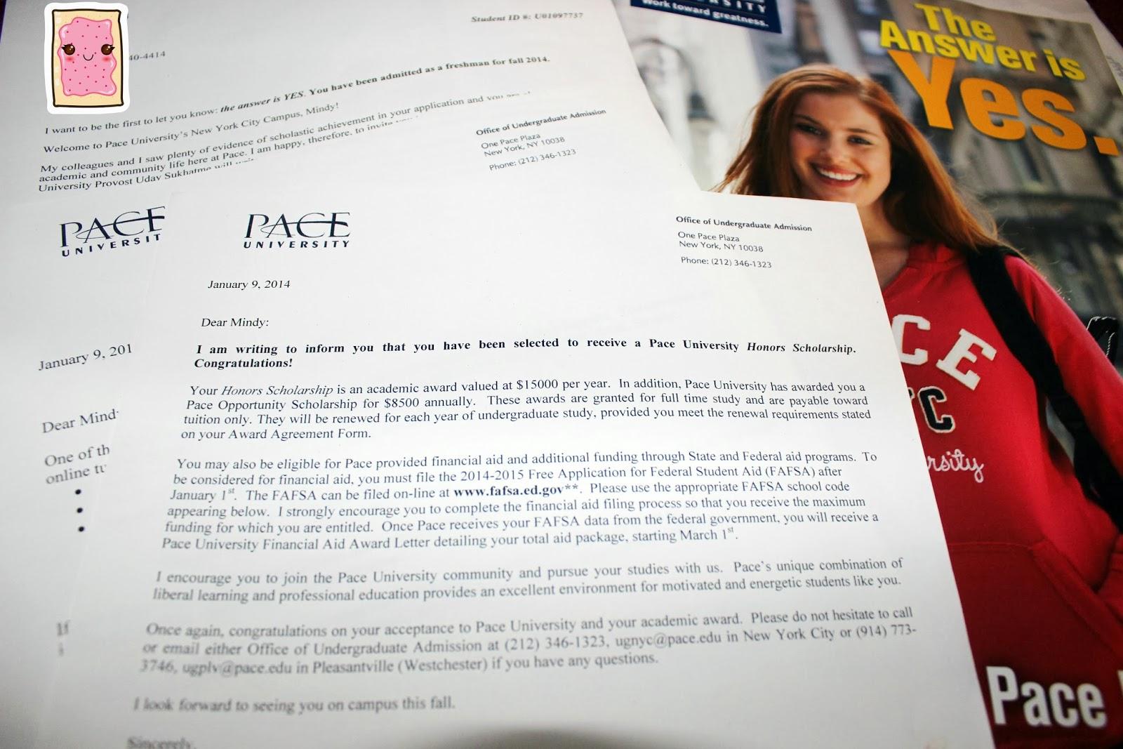 Pace University Acceptance Letter 2014
