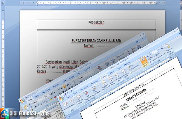 Contoh Surat Keterangan Kelulusan dengan Mail Merge Microsoft Word
