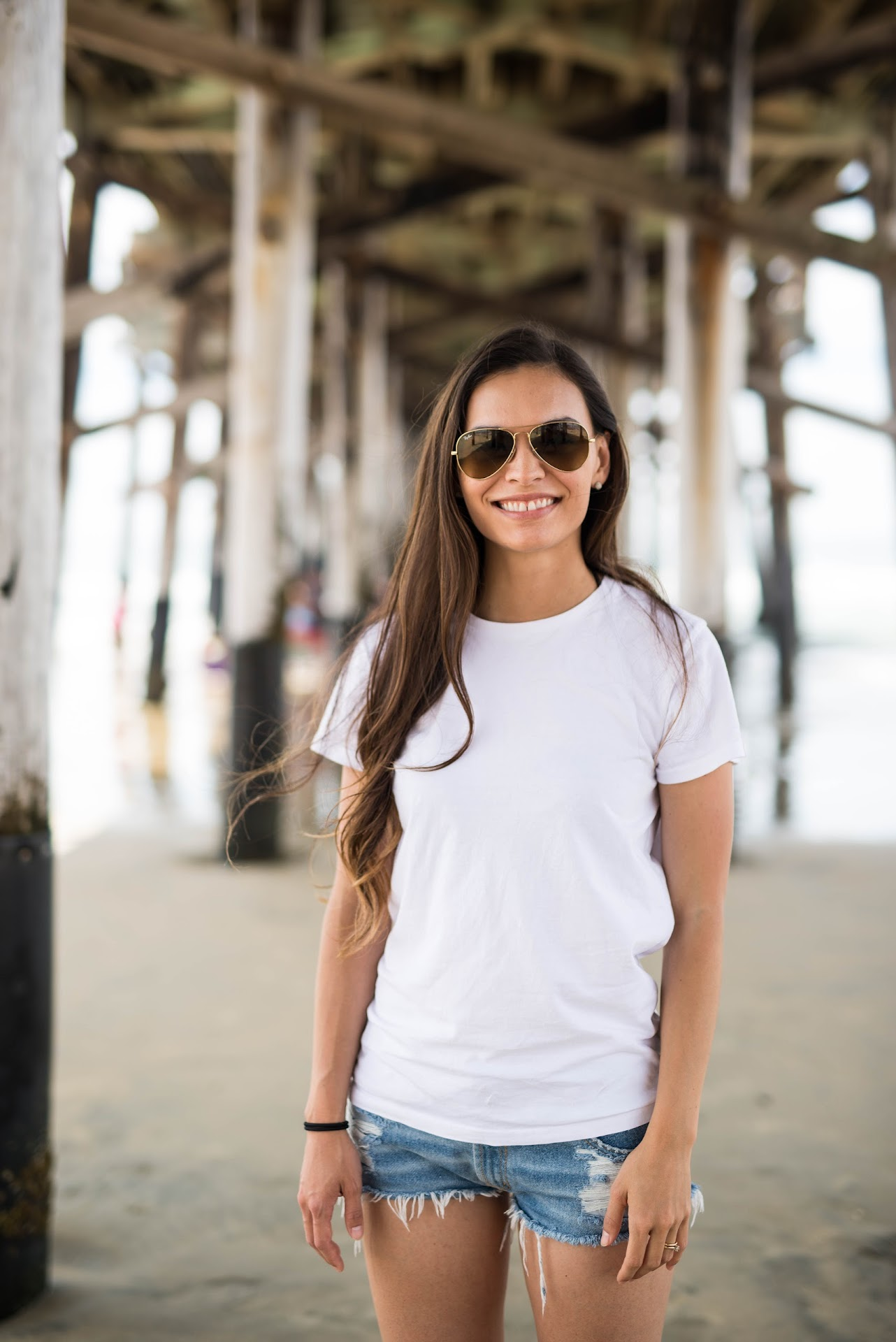 photos under a pier, newport beach, korean blogger, asian, lds mormon fashion, style, travel