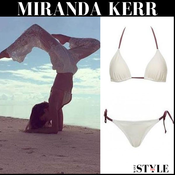 Miranda Kerr in white lace trousers and white bikini Solid & Striped Sophie beach summer style