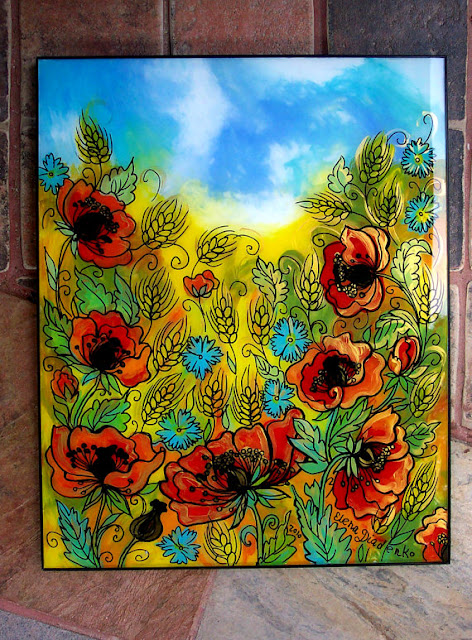 Poppies Ukrainian Glass Painting Elena Diadenko