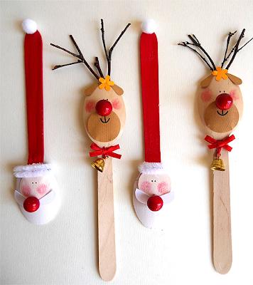 Enfeites e lembrancinhas de natal com colheres de madeira
