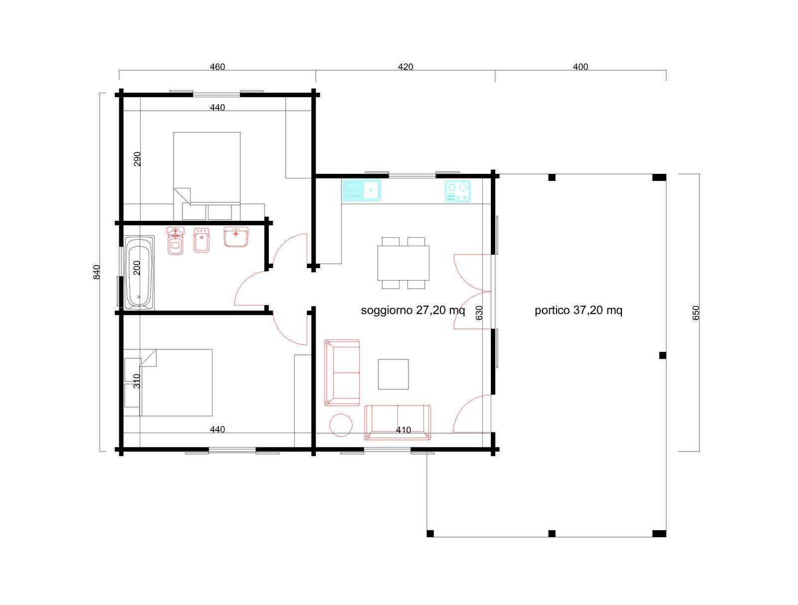 Progetti di case in legno casa 61 mq portico 37 mq for Progetti di piani portico proiettati