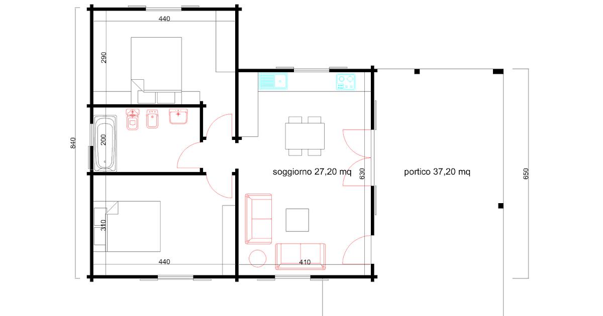 Progetti di case in legno casa 61 mq portico 37 mq for Progetti di portico anteriore