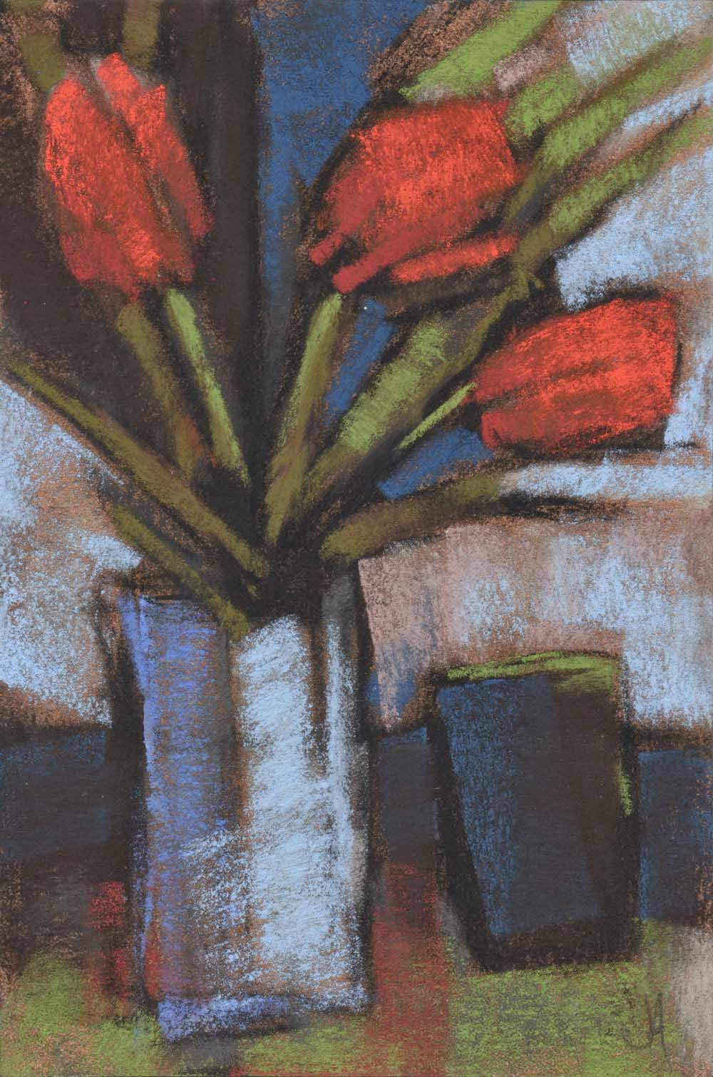 tulips and tumbler pastel drawing painting contemporary floral still life artist janine aykens