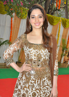 Tamanna Bhatia in lovely Heavy Work Designer Anarkali Dress at Bengal Tiger Movie Launch