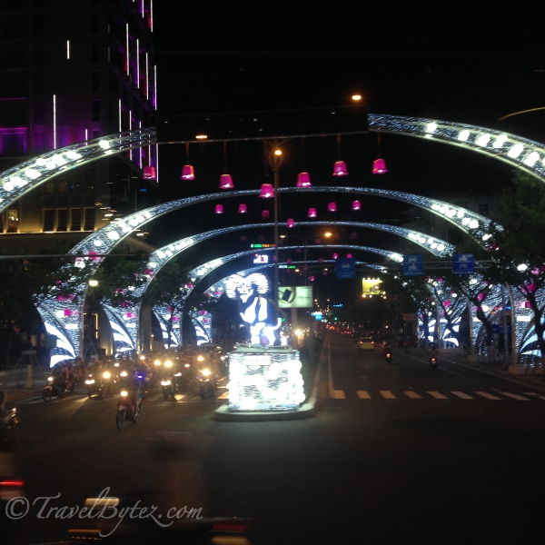 Dragon Bridge and Da Nang City at night (Vietnam)