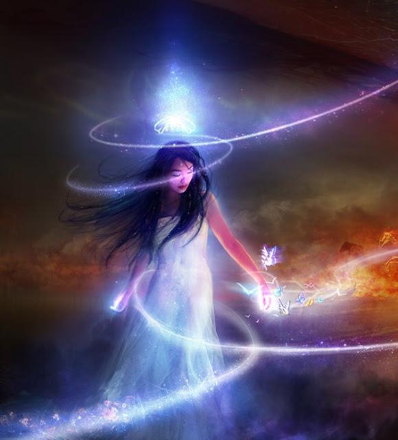 Mulher em projeção astral