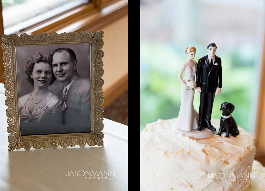 Old wedding photographs and cake topper with a dog at this Door County wedding. Photo by Jason Mann Photography, 920-246-8106, www.jmannphoto.com