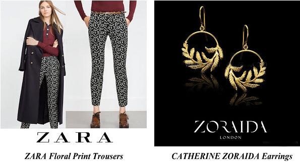 The Duchess Of Cambridge Wore Zara Floral Print Trousers And Catherine Zoraida Earrings