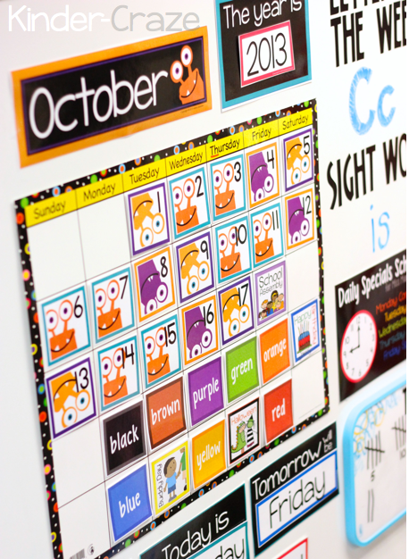 monster theme classroom calendar