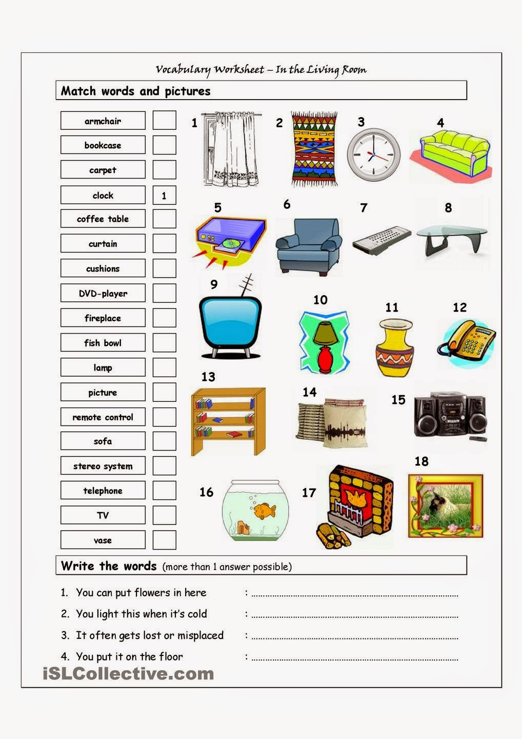 The superwords english club march 2015 for Living room vocabulary