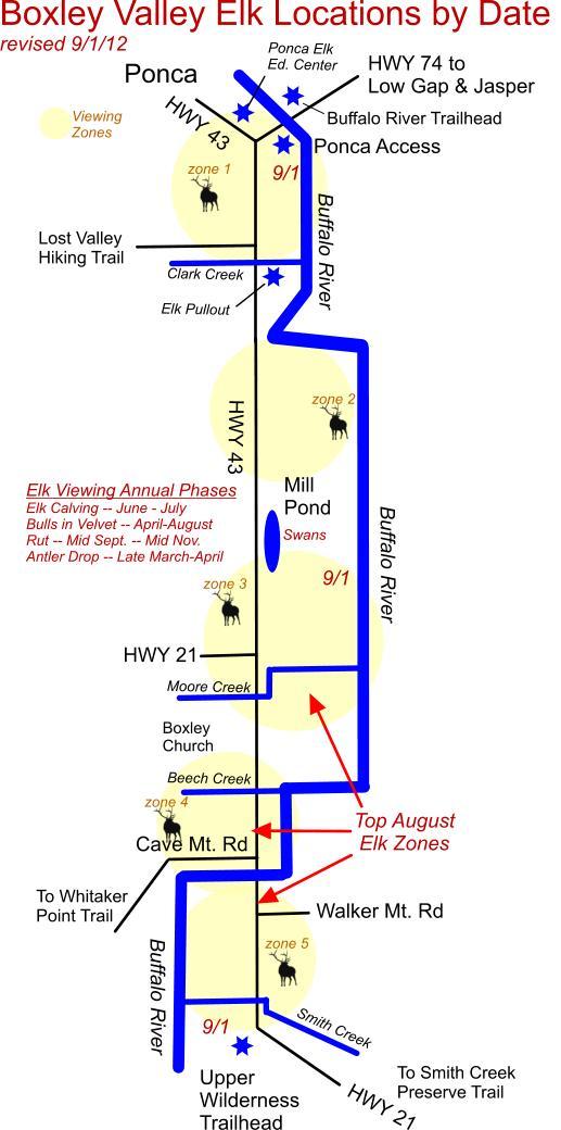 Elk herd locations by date