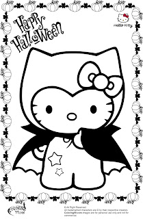 hello kitty vampire halloween coloring pages