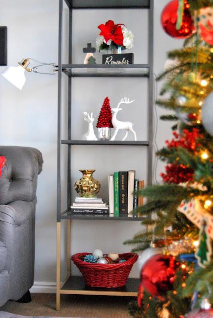 blogger, blog, blog hop, blog tour, a holiday with hear, withheart, blogger tour, holiday tour, interior design, christmas, gallery wall, red christmas, christmas decor, gray tufted sofa, gray sofa, grey, vittsjo, gold dipped, safavieh, pillows, throw pillows