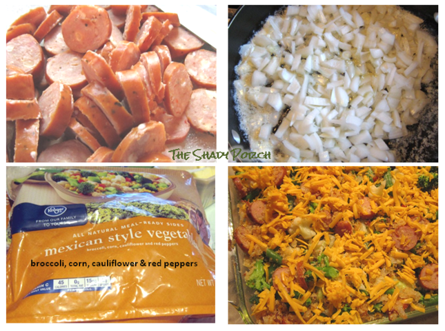 Ingredients and the making of Cheesy Vegetable Casserole with Chicken Sausage
