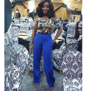 Actress Ini Edo Steps Out For An Event In Blue Coporate Trousers And Shirt Blouse (Cute Photos)