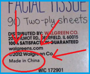 """Made in China"" at the bottom of the tissue box, circled, with three arrows pointing to it... all in red, of course."