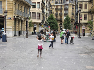 shared street in San Sebastian Spain