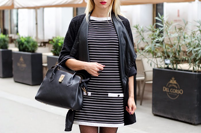 Zara black and white stripes dress Nowistyle coat