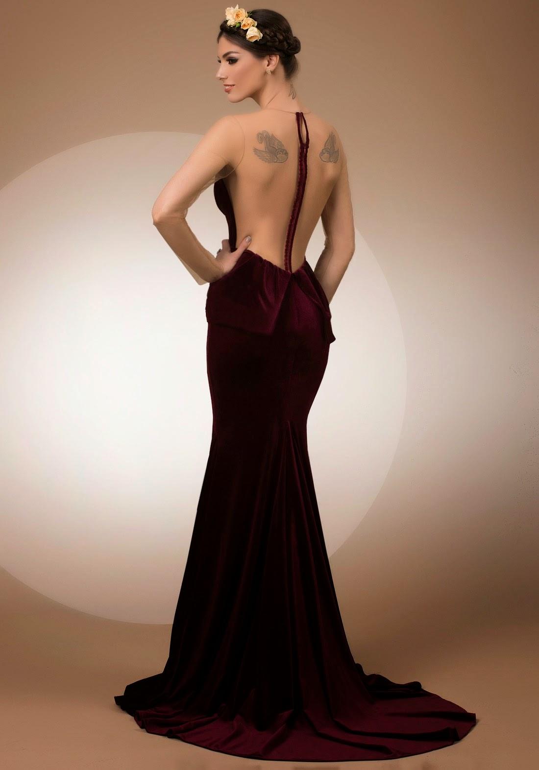 My Secret Admirer, mermaid velvet evening dress with portrait back, Bien Savvy My Secret collection