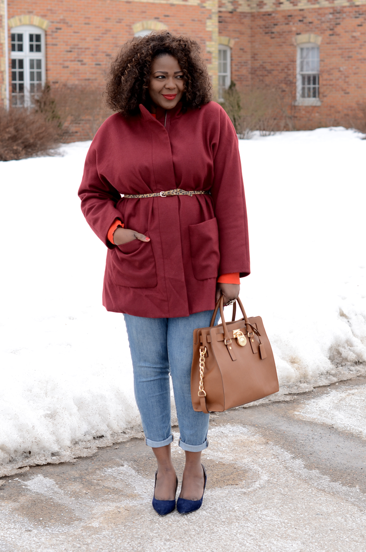 Trendy Plus Size Fashion for women Oversized Belted Coat #burgundy