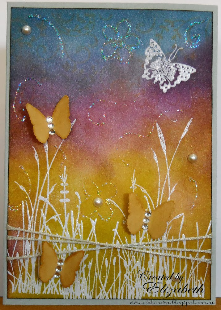 Elizabeth Whisson, Annabelle Stamps, butterfly, handmade card, distress inks, crushed olive, scattered straw, seedless preserves, faded jeans, heat embossing, emboss resist, stickles, star dust, rhinestones