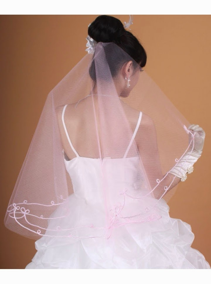 Velo Rosa para Vestido de Novia de Capa Simple con Bordes Decorados