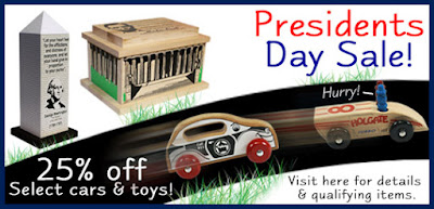 Holgate Toys.com Sale: 25% off Cars and Presidential toys!