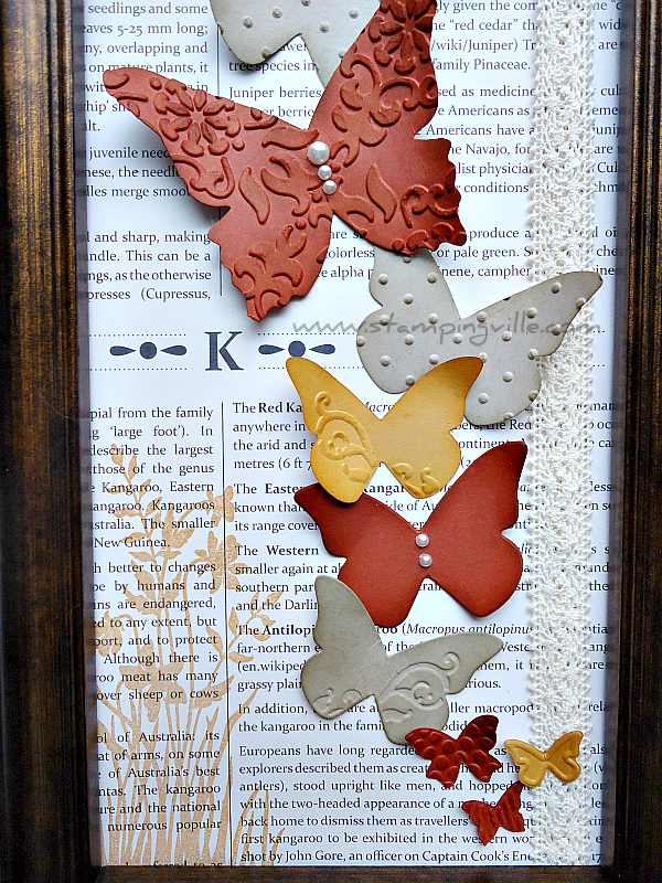 Embossed and die-cut butterflies take flight in this framed decor piece | Stampingville