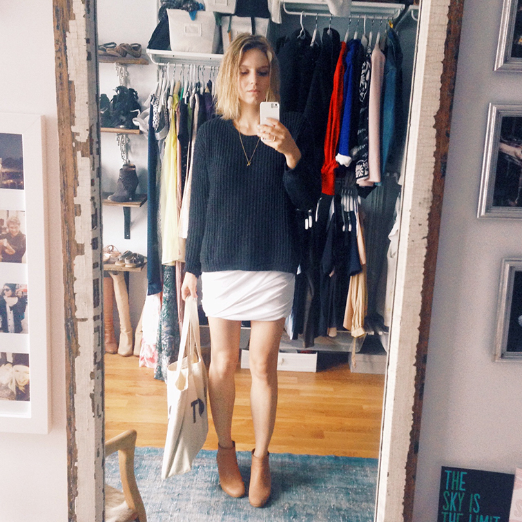 Fashion Over Reason selfie, walk-in closet, open wardrobe, Zara chunky elbow patch knit, T by Alexander Wang wrap skirt, Rachel Comey Mars booties, Veramean elephant necklace pendant