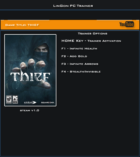 Thief v1.0 x32Bit Trainer +4 [LinGon]