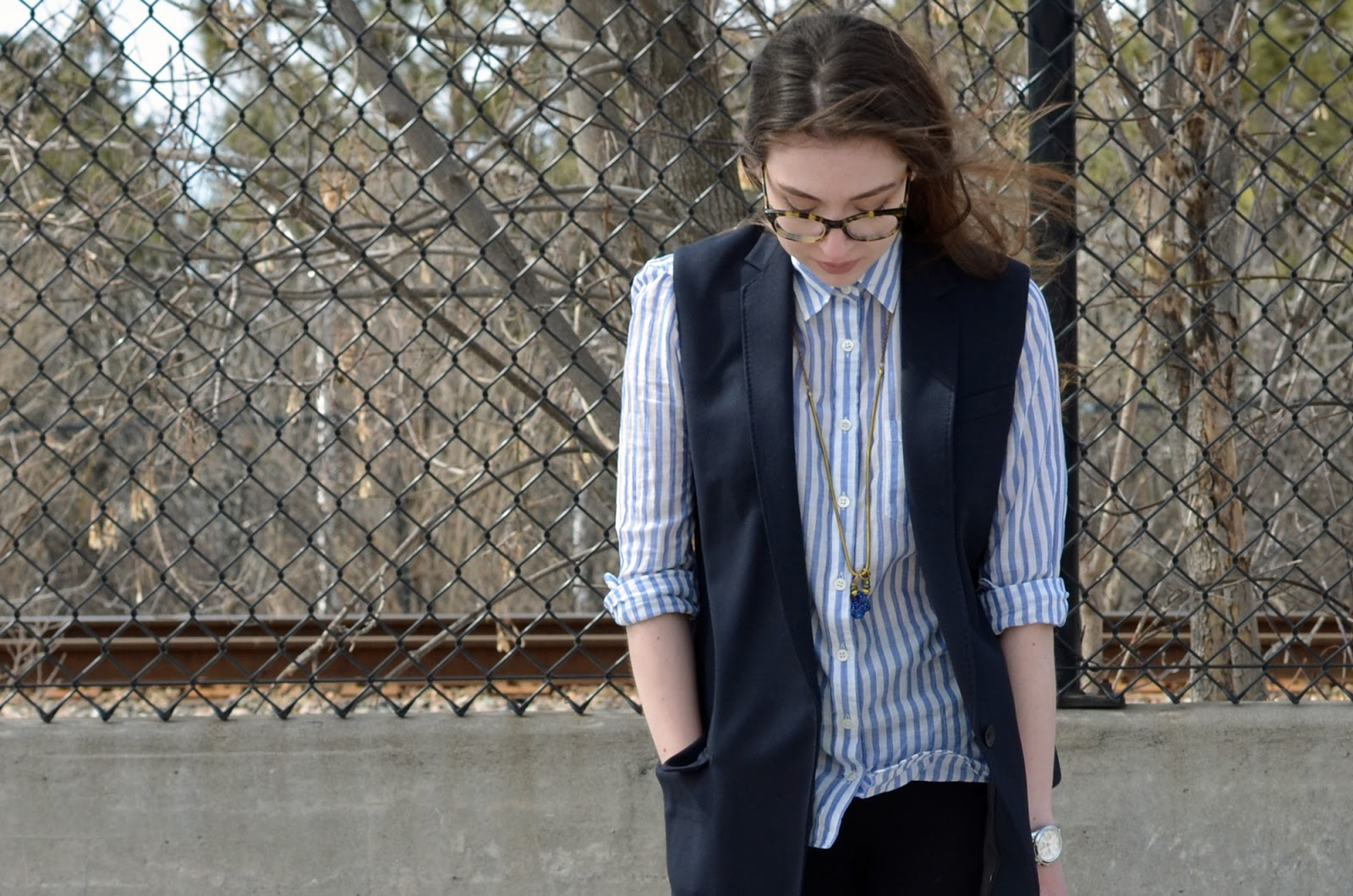 OOTD ft. Rag and Bone long vest, Victoire Hen necklace, J.Crew shirt, and Warby Parker glasses