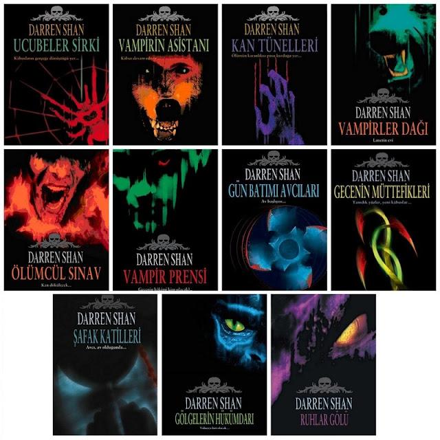Ucubeler Sirki, Vampirin Asistanı, Kan Tünelleri, Vampirler Dağı, Ölümcül Sınav, Vampir Prensi, Gün Batımı Avcıları, Gecenin Müttefikleri, Şafak Katilleri, Gölgelerin Hükümdarı, Ruhlar Gölü