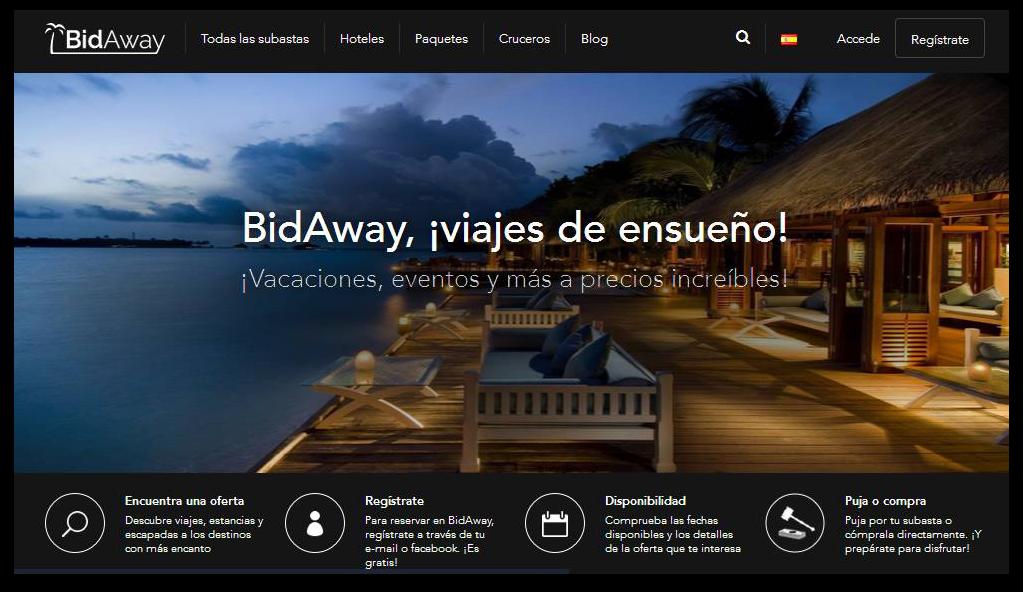 BidAway, viajes de ensueño. Ocio y entretenimiento hecho por pujas