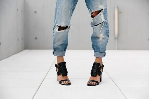 ripped boyfriend jeans and heels