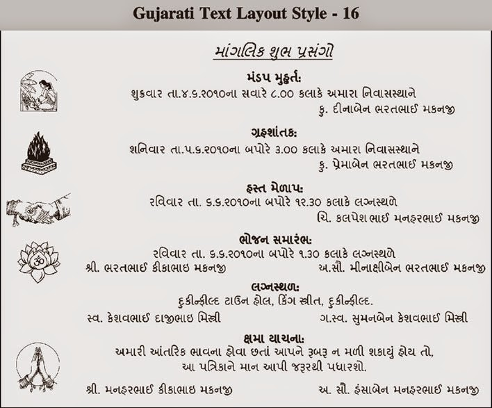 Gujarati Wedding Invitation Cards Wordings In English ~ Yaseen for