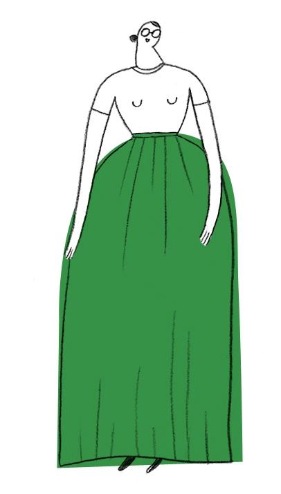 Illustration of person in white top and green maxi skirt