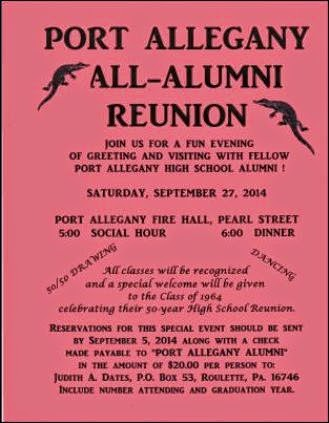 9-27 Port Allegany All-Alumni Reunion