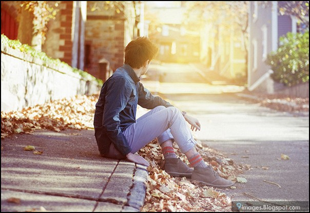 sad alone boy sunset cute - Zindagi ki talkhiyon ne cheen