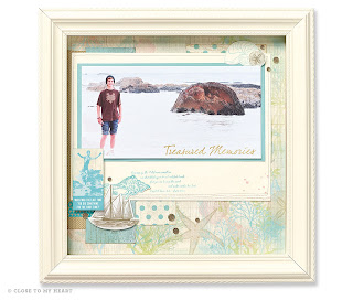 Beach Framed Scrapbook Layout Gift