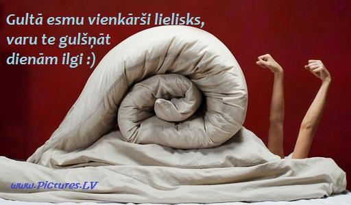 gliemezis gultā